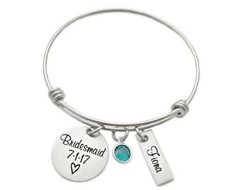 Personalized Bridesmaid Gift - Engraved Bracelet - Bridesmaid Bangle - Wedding - Wire Bangle - Wedding Keepsake - Custom Bridesmaid - 1192