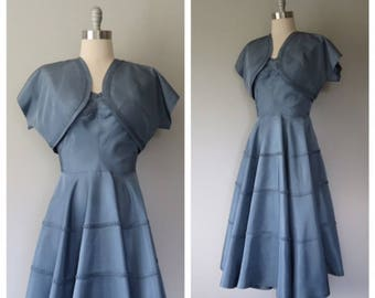 vintage 1940s cold rayon party dress and matching bolero jacket size medium