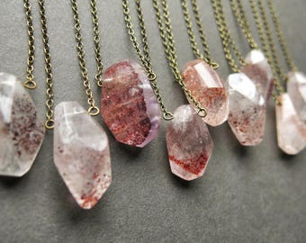 Strawberry Quartz Necklace - Heart Chakra Necklace - Boho Crystal Necklace - Lepidocrocite Quartz Pendant - Hematite Quartz Jewelry