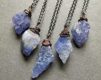 Raw Tanzanite Necklace - December Birthstone Necklace - Raw Gemstone Necklace- Raw Tanzanite Jewelry- Tanzanite Pendant- Raw Crystal Pendant