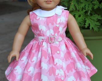 "18"" Doll Clothes 1950's Style Side Tie Collar Dress Fits American Girl Maryellen, Melody"