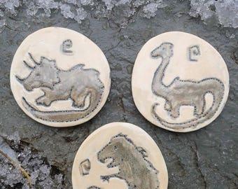3 Dinosaur Mosaic Tiles T-Rex Ceramic Mosaics Triceratops Pottery Petroglyph Ceramic Stone Mosaic Handmade Tiles