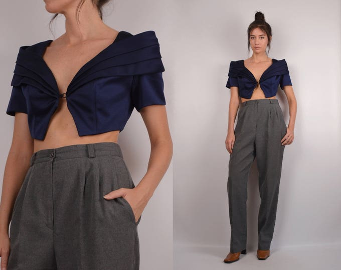 Vintage Navy Origami Crop Top
