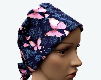 Pixie Scrub Hat -Pink Butterfly Flutter on Blue Pixie Tie-back Scrub hat - Surgical Scrub Hat - Vet Tech Scrub Hat - Custom