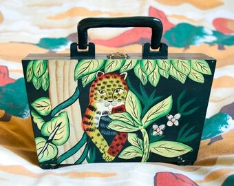 Jungle Cat - painted wooden purse - wood box purse - hand painted wood purse - tiger purse - jungle purse - green box purse - leopard purse