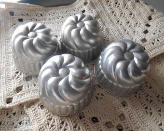 Set of 4 Vintage Aluminum Jello Molds Bundt Shaped Vintage Kitchen Dessert Mold Succulent Planter