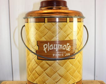Vintage Playmate Picnic Jug, Insulated,  Metal, Glass Lined Jug, Basket Weave, Thermos, Cooler, Copper, 1950s, Vintage camping, glamping,
