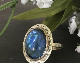 Vintage Sterling Silver Bezel Set Blue Glass Cabochon Ring SZ 5.25 Gypsy Ring
