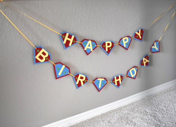 superhero happy birthday banner name banner by a paper paradise