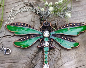 Emerald Green Antique Copper Dragonfly Pendant Necklace
