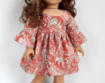 18 inch Doll Clothes-Paisley Dress