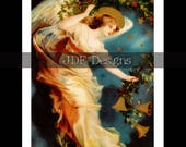 Instant Digital Download, Vintage Edwardian Era Graphic, Christmas Angel Postcard Antique Print, Printable Image, Holly Garland, Victorian