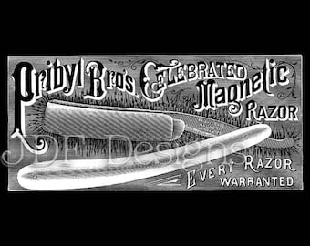 Instant Digital Download, Antique Victorian Graphic, Magnetic Straight Edge Razor Ad Advertisement Printable Image Steampunk Typography, Men