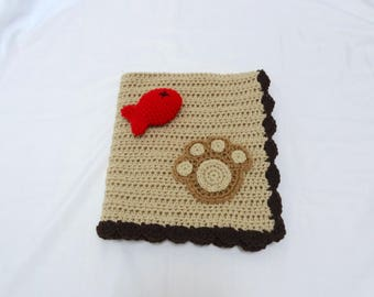 Crochet Pet Blanket/Cat Blanket/Small Dog Blanket and Fish Toy Set in Beige and Brown Trim - Ready to Ship