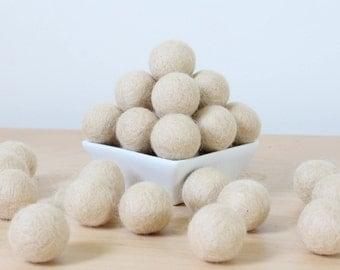 Felt Balls: ALMOND, Felted Balls, DIY Garland Kit, Wool Felt Balls, Felt Pom Pom, Handmade Felt Balls, Beige Felt Balls, Beige Pom Poms