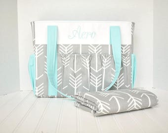 Monogrammed Boy Girl Diaper Bag in Gray Arrows and Aqua with Changing Pad 12 Pockets or Design Your Own