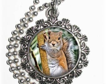 Squirrel on a Tree Pendant, Art Painting Resin Charm, Animal Jewelry, YessiJewels Necklace