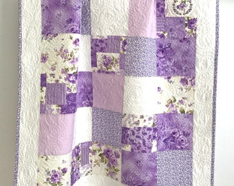 Baby Girl Quilt with Stunning Purple Floral Prints