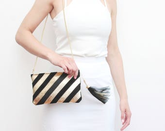 Small shoulder bag. Natural leather purse. Small statement purse. Crossbody bag. Stripe pattern bag. Large tassel. Color block./ CANDY 3