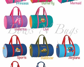Monogrammed Stephen Joseph Quilted Duffle Bag / Children and Toddler Duffle / Dance / Personalized / Choose from 10 Pattern / Boys and Girls