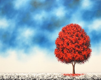 Winter Landscape Painting, ORIGINAL Oil Painting, Textured Red Tree Painting, Contemporary Snowscape, Modern Minimalist Canvas Art, 18x24
