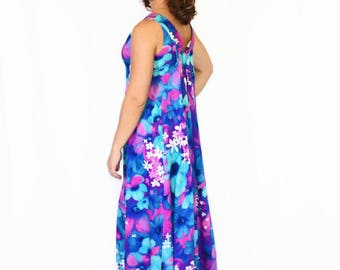 60s Hawaiian Dress. Maxi Dress in Blue Turquoise Purple Orchid. Summer Dress. Floral Print. Beach Dress. Mad Men Dress. Tropical Dress Small