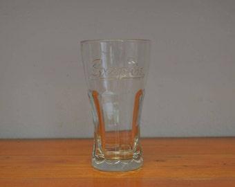 Vintage Snap on glass tumbler promotional advertising item