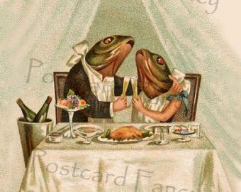 DEELIGHTFUL Dressed Frogs Champagne Toast, April 1, April Fool's Postcard, Instant DIGITAL Download, FUN!