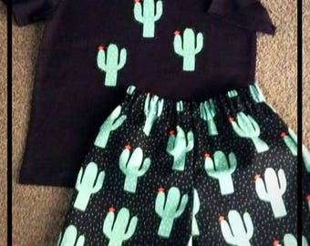 Boys Cactus design shorts and tee set