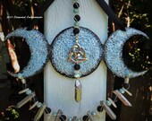 Triple Moon With Triquetra, Blue Black Painted Clay Sculpture With Silver Titanium Crystals And Gemstone Beads, OOAK Elemental Enchantments