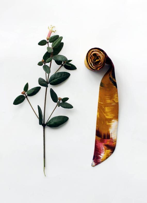 Abstract mustard necktie, neckerchief, skinny scarf, choker, head band, head wrap
