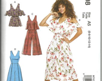 McCalls 7608 new uncut size 6 - 14 womans summer dress and jumpsuit