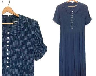 90's Dress Vintage Minimalist Dress Rayon Dress 80's Dress Peter Pan Collar Dark Blue Polka Dot Dress Maxi Large Collar Long Church Dress