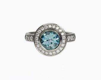 Sky blue topaz ring, halo, Diamond ring, engagement ring, blue engagement, topaz, blue, Diamond halo, white gold, custom, light blue topaz