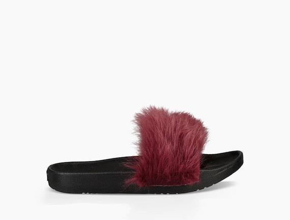 Custom Crystal Slippers UGG Australia Royale Garnet Red Toscana Fur Slide Size 6-9 w/ Swarovski Jewel Wedding Flip Flop Slip On Shoe