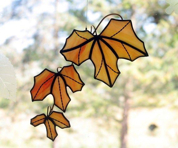 Stained Glass Maple Tree Branch with Leaves Sun Catcher, Orange and Red