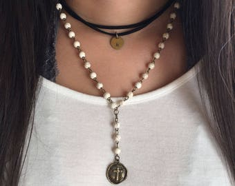 white howlite beaded necklace, rosary chain necklace, bronze necklace, cross charm, boho jewelry, layered necklace, White Beaded Rosary