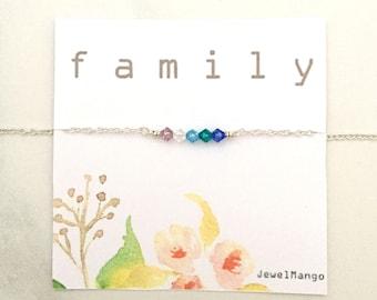 Family Birthstone necklace, Family birthstone, Birthday Gifts for mom, Swarovski Crystal, crystal Jewelry, Holiday Gift, Christmas gifts mom