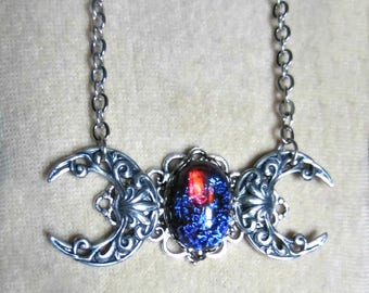 Dragons Breath Opal Triple Moon Necklace, Triple Goddess Necklace, Pagan Wiccan