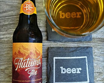 Colorado Craft Beer Slate Coasters - Mancave, Garage, Fathers Day, Beer Lover, Mens Gift