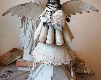 Metal angel statue sculpture French Santos inspired angelic Santero rustic farmhouse style figure salvaged base decor art anita spero design