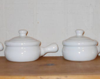 Vintage kitchen beach cottage french onion soup containers lidded set of four cooking pottery 1980s