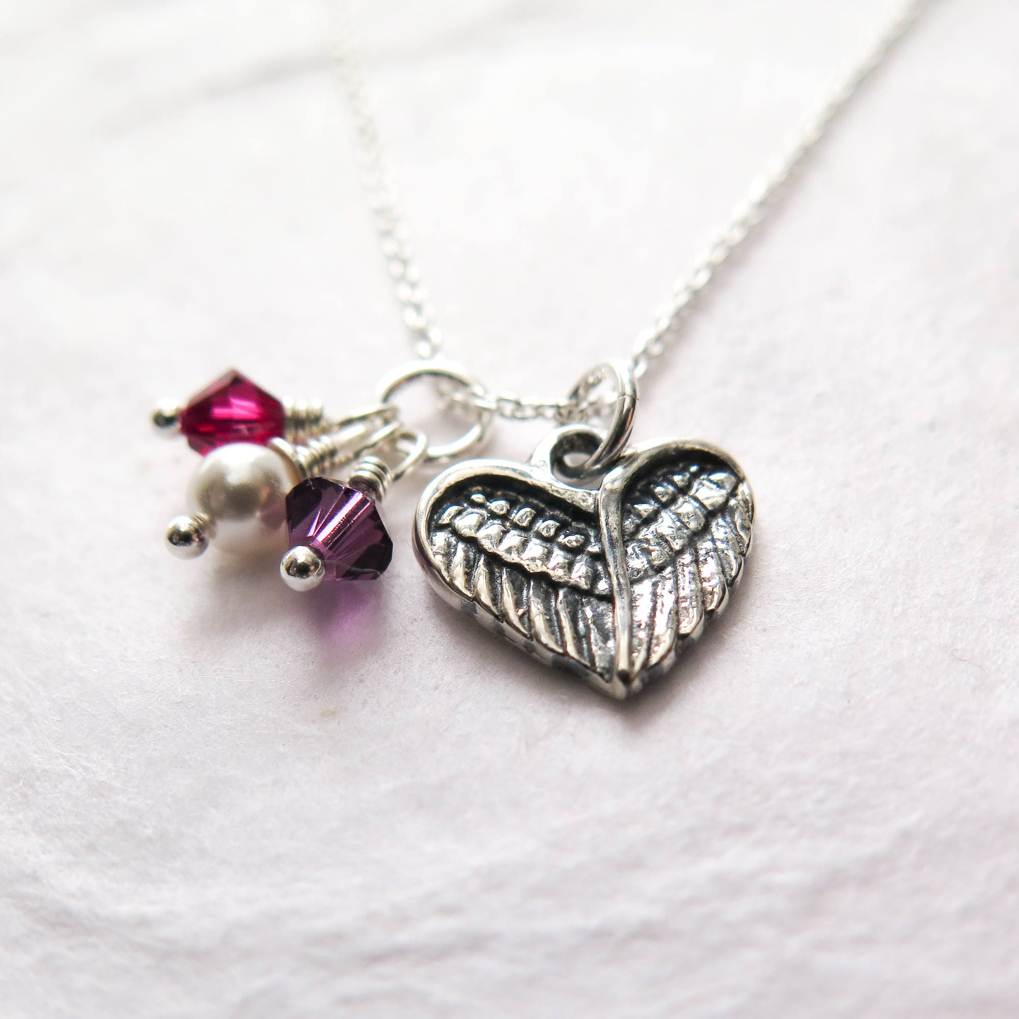 Miscarriage necklace personalized baby loss jewelry remembrance miscarriage necklace personalized baby loss jewelry remembrance necklace sympathy gift angel wing heart swarovski birthstone handmade negle Choice Image