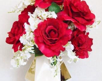 Silk Flower Arrangement. Bright Red Roses, White Dendrobium Orchids, White & Gold Geometric Vase, Artificial Flower Arrangement, Home Decor,