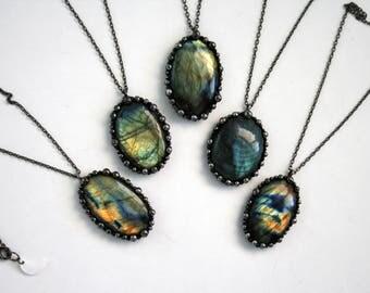 Labradorite Round Necklace - Small // Rainbow Labradorite Statement Necklace