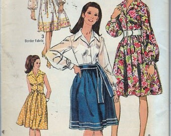 "Vintage 1970 Simplicity 9152 Retro Shirtwaist Dress & Sash Sewing Pattern Size 14 Bust 36"""