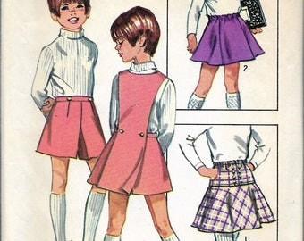 "Vintage 1970 Simplicity 8899 Child's & Girl's Retro Set Of Skirts, Pantskirt and Detachable Bib  Sewing Pattern Size 8 Waist 22"""
