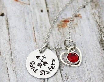 Custom Personalized Necklace - Birthstone - Soul Sisters - Arrow - Best Friends - Besties - BFF - Custom Necklace