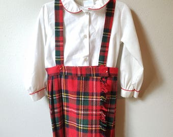 Vintage Girls Plaid Kilt Skirt Jumper and White Blouse by Her Majesty- Size 4t - Gently Worn