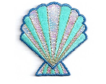 Seashell - Beach - Ocean Tropical - Shimmering Embroidered Iron On Applique Patch